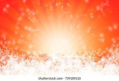 Red Christmas background with snow flakes
