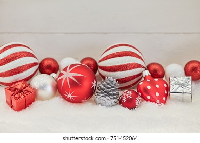 Red christmas background with snow and recoration