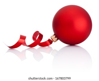 Red Christmas ball and curling paper Isolated on white background