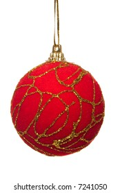 red christmas ball with gold ornaments isolated with clipping path
