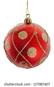 A red christmas ball with golden ornaments isolated on white background