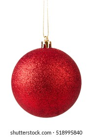 Red christmas ball hanging isolated on white background