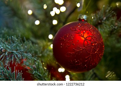 Red christmas ball hanging in christmas tree