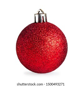Red  Christmas ball isolated on white background. Close up. Traditional Xmas and Happy New Year  Symbol.