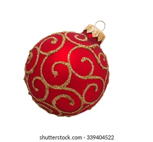 red christmas ball, isolated on white background