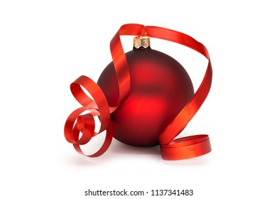 Red Christmas Ball On White, decoration for christmas time