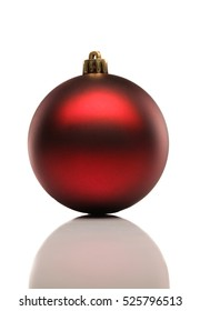 Red christmas ball on a white background with a soft shadow