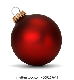 red christmas ball over white background - Christmas Ball Decorations