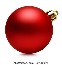 Red christmas ball over white, clipping path