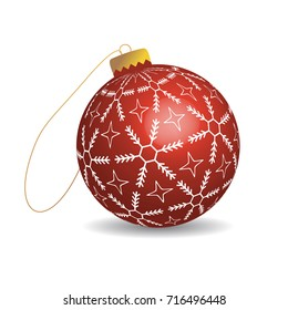 Red christmas ball with snowflakes. Isolated toy on white background.Raster version.