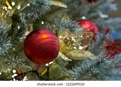 Red christmas ball in christmas tree