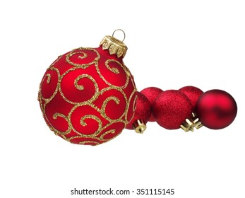 red christmas balls, isolated on white background, shallow depth of field