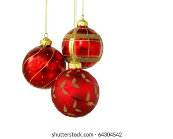 Red Christmas balls, isolated on white background