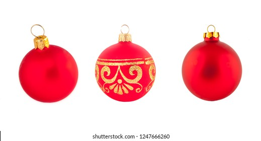 red christmas balls set isolated on white background