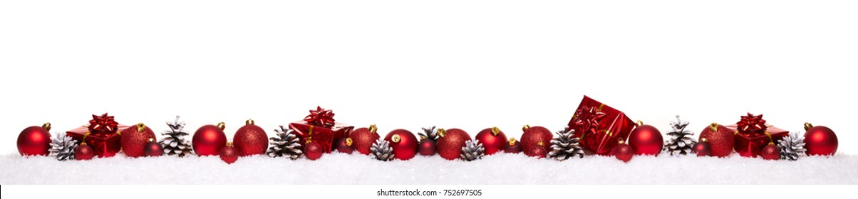 Red christmas balls with xmas present gift boxes in a row isolated on snow, Christmas banner
