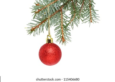 A red Christmas bauble hanging from a branch of a Christmas tree isolated against white