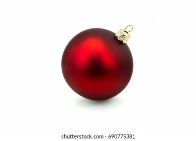 Red Christmas Bauble On White