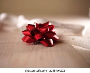 Red Christmas bow for decoration isolated shot medium shot