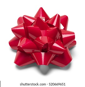 Red Christmas Bow Isolated on White Background.