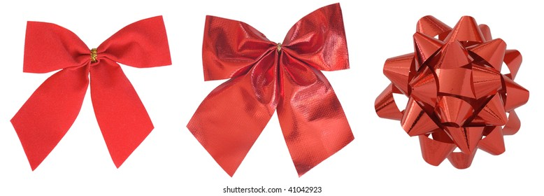 Red Christmas bows, isolated on white