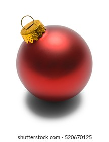 Red Christmas Bulb Isolated on White Background.