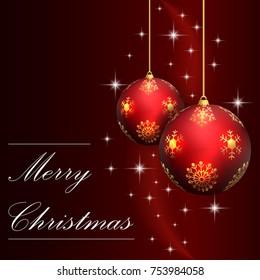Red christmas card with Christmas ball