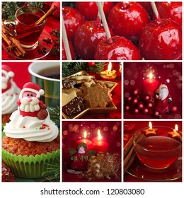 Red christmas collage with sweets and tea