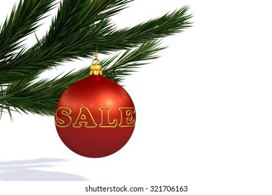 Red Christmas decoration ball sale on Christmas tree branch isolated on white