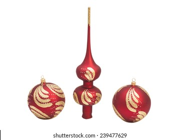 Red Christmas decoration balls with glitter