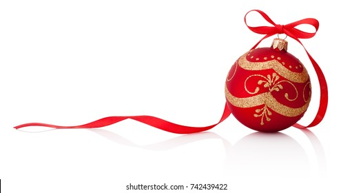 Red Christmas decoration bauble with ribbon bow isolated on white background