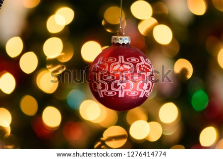 Red Christmas Decoration Bokeh Background Stock Photo (Edit Now