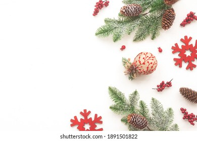 Red christmas decoration on white background, flat lay, top view