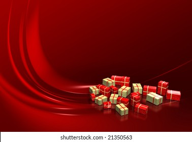 Red Christmas gift on red background