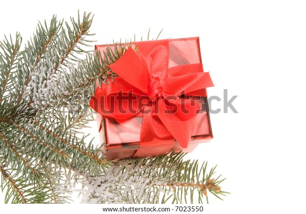 red Christmas gift and snowy conifer twig isolated on white