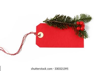 Red christmas gift tag