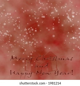 Red Christmas Greeting with snowflakes and copy-space.