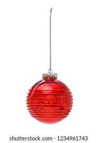 Red Christmas hanging ball festive decoration isolated on white background