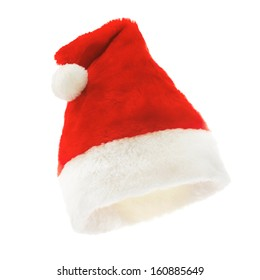 Red christmas hat on the white