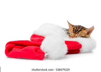 red Christmas hat and a sleeping kitten on a white background