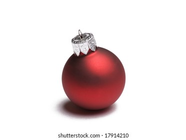 Red Christmas ornament isolated on white background