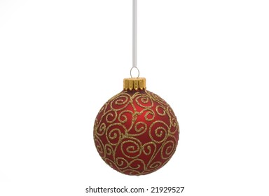 Red Christmas ornament isolated on a white background