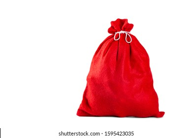 Red christmas present bag with gifts. New Year celebration. Isloated object