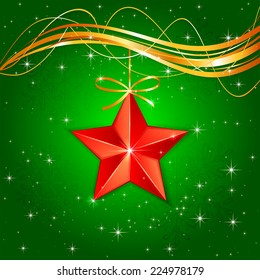 Red Christmas star on green starry background, illustration.