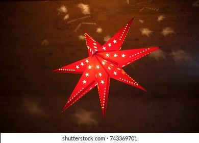 Red Christmas star on top
