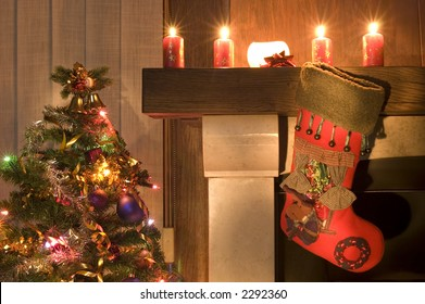 Red christmas stocking hangs above the fireplace on Christmas