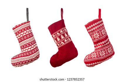Red Christmas stocking isolated over white background