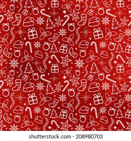 Red Christmas Traditional Pattern. Seamless texture
