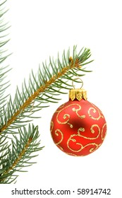 red Christmas tree ball isolated on white background