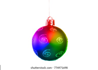 Red Christmas Tree Ornament, ball, decorations. Isolated white background. Tint.