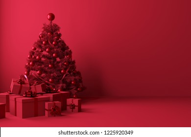 red Christmas tress with red ornaments and gift box on red background